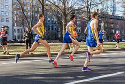 Boston Marathon: BAA 5K road race, BAA club runners race down Commonwealth Avenue