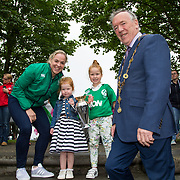 27.07.17.          <br /> Ireland Women's Rugby captain Niamh Briggs was mobbed by young fans in Limerick earlier today (Thursday) as she arrived in the city by boat for the Women's Rugby World Cup trophy tour.<br /> <br /> Pictured are left to right, Niamh Briggs, Ireland Women's Rugby captain, Julia, 3 and Isabel Tierney, 7 daughters of Tom Tierney coach of the Women's Team and Mayor of Limerick Cllr Stephen Keary.<br /> <br /> <br />  The Limerick based garda and Munster fullback was escorted on the River Shannon by Limerick Marine Search and Rescue along with Nevsail kayakers as she made her way to Arthur's Quay jetty to be officially met by Mayor of Limerick, Cllr Stephen Keary. Picture: Alan Place