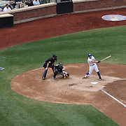 David Wright hits a single during R.A. Dickey pitching his 20th win of the season during the New York Mets v Pittsburgh Pirates regular season baseball game at Citi Field, Queens, New York. USA. 27th September 2012. Photo Tim Clayton