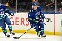 KELOWNA, BC - SEPTEMBER 29: Brock Boeser #6 of the Vancouver Canucks warms up against the Arizona Coyotes at Prospera Place on September 29, 2018 in Kelowna, Canada. (Photo by Marissa Baecker/NHLI via Getty Images)  *** Local Caption *** Brock Boeser;