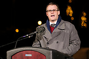 21 DECEMBER 2020 - DES MOINES, IOWA: ADAM GREGG, the Lieutenant Governor of Iowa speaks during a memorial service for the homeless people who have in Iowa. More than 100 people gathered on the steps of the State Capitol in Des Moines to honor the homeless who died in Iowa in 2020. The ceremony is held every year on December 21, the longest night of the year. Twenty-five homeless people have died in Iowa so far in 2020.     PHOTO BY JACK KURTZ