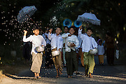 Group of boys leading the way at Novitation Ceremony procession, Monywa