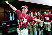 """TALLAHASSEE, FL. 6/8/08-Florida State Coach Mike Martin shouts to his family """"we're flying to Omaha"""" after the Seminoles defeated Wichita State 11-4 to advance to the College World Series, Sunday at Dick Howser Stadium in Tallahassee. FSU has never won the CWS and it has been eight years since their last trip to Omaha. COLIN HACKLEY PHOTO"""