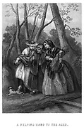 Steel engraving of a helping hand to the aged. Two young women helping an aged woman walk. from Godey's Lady's Book and Magazine, June 1864, Philadelphia, Louis A. Godey, Sarah Josepha Hale,