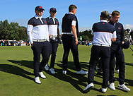 Caolan Rafferty (GB&I) and Conor Purcell (GB&I) at the 18th green during Day 2 Foursomes of the Walker Cup, Royal Liverpool Golf CLub, Hoylake, Cheshire, England. 08/09/2019.<br /> Picture Thos Caffrey / Golffile.ie<br /> <br /> All photo usage must carry mandatory copyright credit (© Golffile | Thos Caffrey)