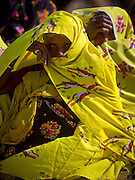 Nomadic Rajasthani women covered in colorful saris to protect them from the desert sun in Pushkar, India.