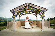 bride and groom standing under gazebo looking out over East Devon coastline