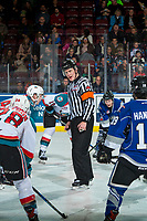 KELOWNA, CANADA - FEBRUARY 12:  Referee Ward Pateman stands at centre ice between the Victoria Royals and the Kelowna Rockets on February 12, 2018 at Prospera Place in Kelowna, British Columbia, Canada.  (Photo by Marissa Baecker/Shoot the Breeze)  *** Local Caption ***