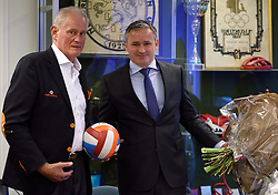 12-12-2015 NED: Bondsvergadering Nevobo, Nieuwegein<br /> Hans Nieukerke is vandaag benoemd tot erevoorzitter van de Nevobo. De 73-jarige Nieukerke ontving in het Huis van de Sport deze eer bij het afscheid van zijn twaalfjarig voorziterschap en kreeg de unieke gouden bondsspeld met drie briljanten opgespeld / Hans en Peter Sprenger