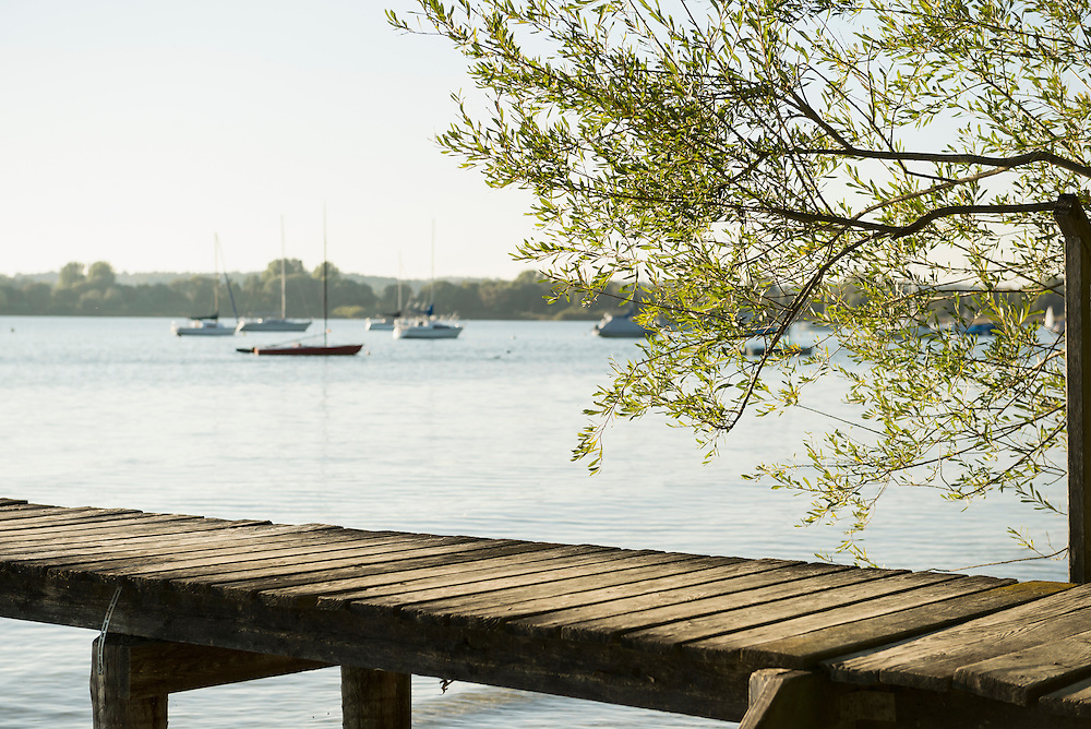 Landing stage wooden jetty lake water tree boats
