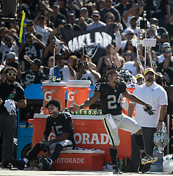 September 17, 2017 - Raiders vs. Jets.Oakland Raiders running back Marshawn Lynch (24) dances as the crowd roared and Oakland Raiders wide receiver Michael Crabtree (15) laughs at Oakland Alameda County Stadium on Sunday, Sept. 17, 2017 in Oakland, CA (Credit Image: © Paul Kuroda via ZUMA Wire)