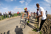 France, Sunday 12th April 2015: With just less than 15km to go, Peter Sagan (Tinkoff Saxo) heads towards Gruson during the 2015 edition of the Paris Roubaix elite men's cycle race.