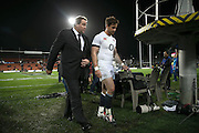 All Black coach Steve Hansen and English five eighth Danny Cipriani walk off together after the third rugby test between the All Blacks and England played at Waikato Stadium in Hamilton during the Steinlager Series - All Blacks v England, Hamiton, 21 June 2014<br /> www.photosport.co.nz