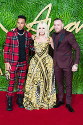 © Licensed to London News Pictures. 04/12/2017. London, UK. LEWIS HAMILTON, DONATELLA VERSACE and CONOR MCGREGOR arrives for The Fashion Awards 2017 held at the Royal Albert Hall. Photo credit: Ray Tang/LNP