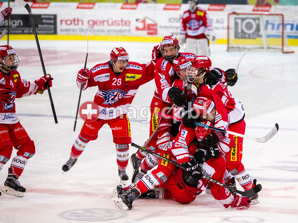 Rapperswil-Jona Lakers forward Nico Alena celebrates with his teammates Kilian Liechti (#10), Kim Lang (#22), Janis Egger (#26), Jonas Graetzer (#13), Siro Rutzer (#28) and Yves Kohli (#4) after scoring the winning goal in the penalty shootout during ice hockey game 3 of the Elite B Playoff Final between Rapperswil-Jona Lakers and EHC Chur Capricorns in Rapperswil, Switzerland, Tuesday, March 13, 2018. (Photo by Patrick B. Kraemer / MAGICPBK)