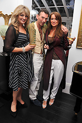 Left to right, CAROL ASHBY, MATTHEW UPHAM and MYCA LEE at the after party for the press night of 'As I Like It' held at the home of Amanda Eliasch, 24 Cheyne Walk, London on 5th July 2011.