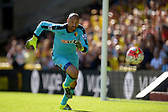 Goalkeeper Heurelho Gomes of Watford chasing the ball. Barclays Premier League, Watford v Swansea city at Vicarage Road in London on Saturday 12th September 2015.<br /> pic by John Patrick Fletcher, Andrew Orchard sports photography.