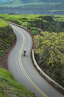 Motorcycle on Historic Columbia River Highway at Rowena Crest, Columbia River Gorge National Scenic Area, Oregon