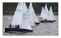 Yachting- The second start of the Bell Lawrie Scottish series 2002 at Inverkip racing to Tarbert Loch Fyne where racing continues over the weekend.<br /><br />Tragedy K8312N to windward of Most of the National Sonata class at the start.<br /><br />Pics Marc Turner / PFM