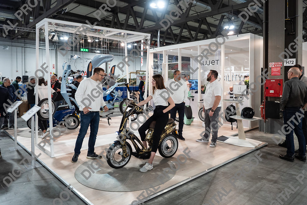 RHO Fieramilano, Milan Italy - November 07, 2019 EICMA Expo. Model Patrol, an electric and foldable scooter from ujet company in exhibit at EICMA 2019