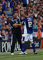 Photo: Tony Oudot/Richard Lane Photography. Leicester City v Barnsley. Coca Cola Championship. 22/08/2009. <br /> Leicester City goalscorer Matty Fryatt is congratulated by manager Nigel Pearson after being substituted