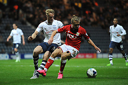 Luke Freeman of Bristol City holds up the ball from Tom Clarke of Preston North End - Mandatory byline: Dougie Allward/JMP - 07966386802 - 15/09/2015 - FOOTBALL - Deepdale Stadium -Preston,England - Bristol City v Preston North End - Sky Bet Championship