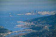 Overlooking the city and San Francisco Bay from atop Mount Tamalpais, Marin County, California