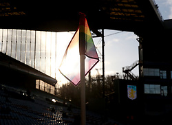 Aston Villa show support for the Stonewall Rainbow Laces campaign for LGBT with rainbow corner flags