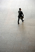 overhead view of businessman walking