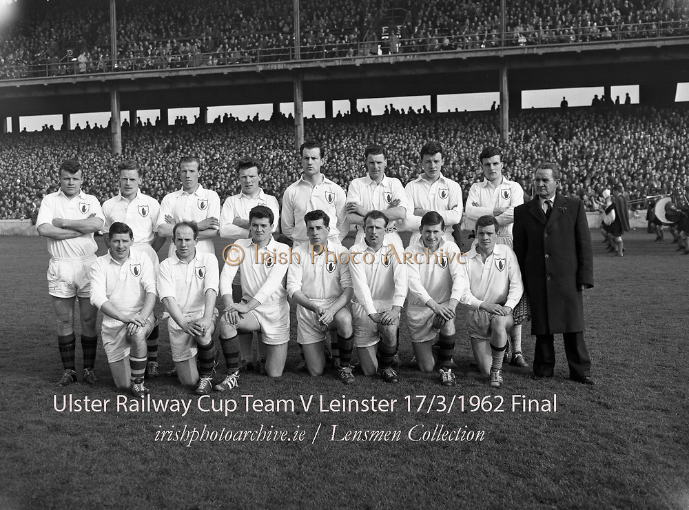 Football Railway Cup Final, <br /> Ulster v. Leinster<br /> Ulster<br /> 17.03.1962<br /> Back Row - from Left<br /> James McCartan (An Dún) Sean McDonnell (An Cabhán) Eugene Larkin<br /> (Ard Mhaca) Benny Mone (Muineachán)<br /> Sean O Connell (An Doire)<br /> Pat Rice An Dún Dan McCartan An Dún Gabriel Kelly (An Cabhán) <br /> <br /> Front Row - from Left Jimmy Whan (Ard Mhaca) Breen Morgan An Dún Leo Murphy An Dún Jarlath Carey An Dún Paddy Doherty An Dún Sean O Neill An Dún T McArdle (Muineachán)<br /> first live televised Gaelic Football Match