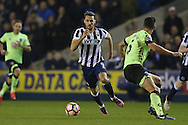 Lee Gregory of Millwall (c)  in action. The Emirates FA Cup 3rd round match, Millwall v AFC Bournemouth at The Den in London on Saturday 7th January 2017.<br /> pic by John Patrick Fletcher, Andrew Orchard sports photography.