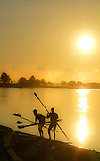 Taree,  Australia. Men's Quadruple Scull  M4X, returning to the Manning River Rowing Club  Manning River. NSW. after a morning outing. Thursday   28/03/2013 [Mandatory Credit. Peter Spurrier/Intersport Images]  Sunrise, Sunsets, Silhouettes..