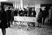 Twelve senior Irish businessmen on their way to Brussels were among 118 killed in the Staines air disaster on 18 June 1972. The coffin bearing the remains of one of the victims arrives back in Dublin Airport to be received by family and friends.<br />