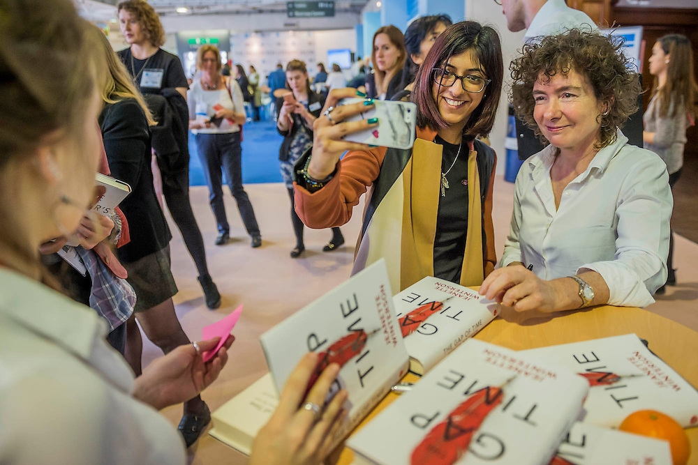 Jeanette Winterson launching her new book, The Gap of Time (part of a retelling Shakespear series) in front of a large audience. She then signed copies with the now obligatory selfies - The London Book Fair, celebrating its 45 year anniversary, is the global marketplace for rights negotiation and the sale and distribution of content across print, audio, TV, film and digital channels. Staged annually, LBF sees more than 25,000 publishing professionals arrive in London for the week of the show to learn, network and kick off their year of business. The London Book Fair sits at the heart of London Book & Screen Week, and runs from the 12-14 April 2016.