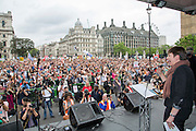 Caroline Lucas MP speaking to the crowd at t he People's Assembly Against Austerity 'End Austerity Now' demonstration attended by over 250,000 people on Saturday 20th of June 2015 sending a clear message to the Tory government; demanding an alternative to austerity and to policies that only benefit those at the top. London, UK.