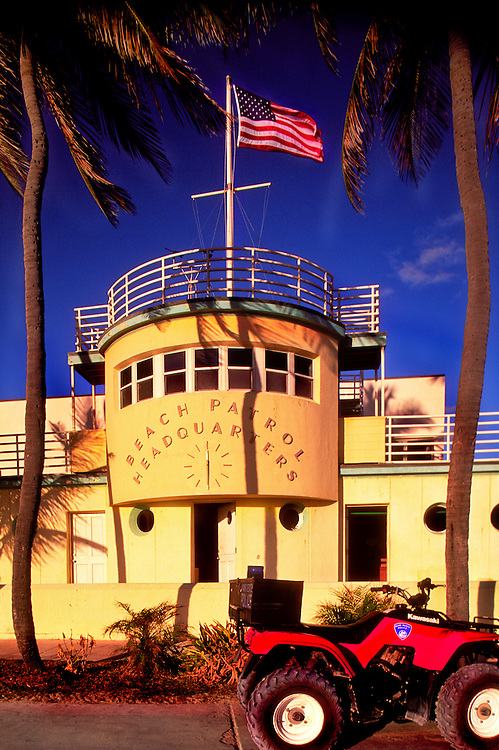 The Art Deco-style Beach Patrol headquarters in Miami Beach's historic South Beach. Designed by architect Robert A. Taylor in 1934, this extraordinary  building resembles the bridge of an ocean liner with metal railings and porthole windows -- a seaside style called Nautical Moderne.