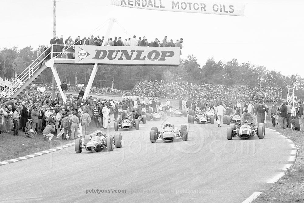 F1 cars begin reconnaissance lap prior to 1966 U.S. Grand Prix at Watkins Glen; PHOTO BY Pete Lyons 1966 / www.petelyons.com