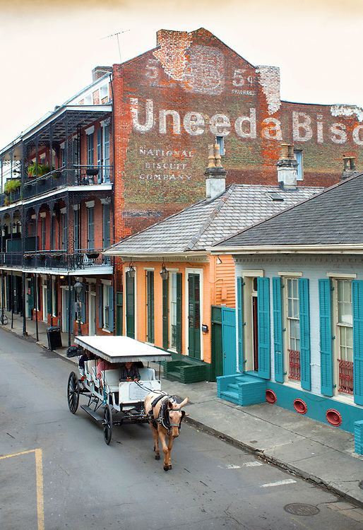 Louisiana, New Orleans, French Quarter, Dumaine Street, Uneeda Biscuit Sign, Horse And Carriage Tour
