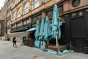 Closed down restaurant business in Leicester Square on 25th May 2021 in London, United Kingdom.  As the coronavirus lockdown continues its process of easing restrictions, more and more people are coming to the West End as more businesses open.