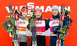 21.02.2016, Salpausselkae Stadion, Lahti, FIN, FIS Weltcup Nordische Kombination, Lahti, Siegerehrung, im Bild v.l.: Eric Frenzel (GER, 2. Platz), Sieger Fabian Riessle (GER), Akito Watabe (JPN, 3. Platz) // f.l.: 2nd placed Eric Frenzel of Germany, Winner Fabian Riessle of Germany, 3rd placed Akito Watabe of Japan during Winner Award Ceremony of FIS Nordic Combined World Cup, Lahti Ski Games at the Salpausselkae Stadium in Lahti, Finland on 2016/02/21. EXPA Pictures © 2016, PhotoCredit: EXPA/ JFK