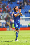 Cardiff City defender Sean Morrison (4) applauds the fans at the end of the EFL Sky Bet Championship match between Cardiff City and Bristol City at the Cardiff City Stadium, Cardiff, Wales on 28 August 2021.
