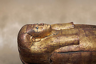 Acient Egyptian sacophagus of Merit -  inner coffin from tomb of Kha, Theban Tomb 8 , mid-18th dynasty (1550 to 1292 BC), Turin Egyptian Museum.  black background .<br /> <br /> If you prefer to buy from our ALAMY PHOTO LIBRARY  Collection visit : https://www.alamy.com/portfolio/paul-williams-funkystock/ancient-egyptian-art-artefacts.html  . Type -   Turin   - into the LOWER SEARCH WITHIN GALLERY box. Refine search by adding background colour, subject etc<br /> <br /> Visit our ANCIENT WORLD PHOTO COLLECTIONS for more photos to download or buy as wall art prints https://funkystock.photoshelter.com/gallery-collection/Ancient-World-Art-Antiquities-Historic-Sites-Pictures-Images-of/C00006u26yqSkDOM