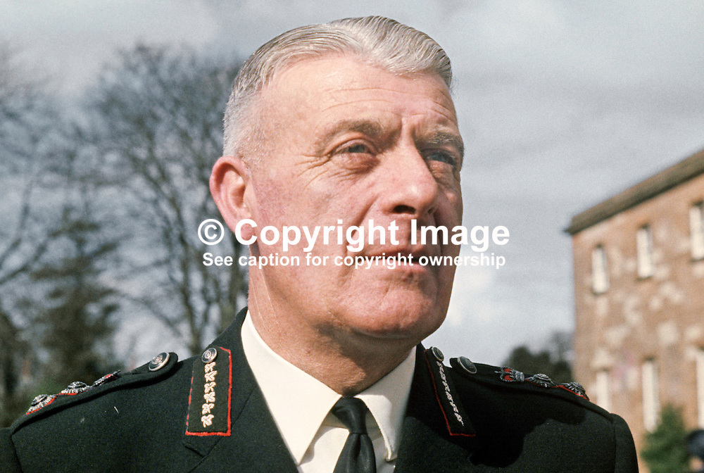 County Inspector Sam Bradley, Commissioner's Office, Royal Ulster Constabulary, Belfast, N Ireland, 197004170108.<br /> <br /> Copyright Image from Victor Patterson, Belfast, UK<br /> <br /> t: +44 28 9066 1296 (from Rep of Ireland 048 9066 1296)<br /> m: +44 7802 353836<br /> e: victorpattersonbelfast@gmail.com<br /> <br /> www.images4media.com<br /> <br /> Please see my full Terms and Conditions of Use at https://www.images4media.com/p/terms-conditions - it is IMPORTANT that you familiarise yourself with them.<br /> <br /> Images used online incur an additional cost. This cost should be agreed in writing in advance. Online images must be visibly watermarked i.e. © Victor Patterson or that of the named photographer within the body of the image. The original metadata must not be deleted from images used online.<br /> <br /> This image is only available for the use of the download recipient i.e. television station, newspaper, magazine, book publisher, etc, and must not be passed on to a third party. It is also downloaded on condition that each and every usage is notified within 7 days to victorpattersonbelfast@gmail.com.<br /> <br /> The right of Victor Patterson (or the named photographer) to be identified as the author is asserted in accordance with The Copyright Designs And Patents Act (1988). All moral rights are asserted.