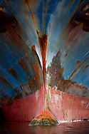 close of container ship hull in port