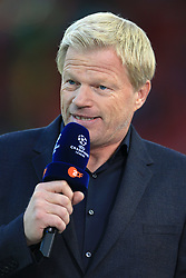 23rd August 2017 - UEFA Champions League - Play-Off (2nd Leg) - Liverpool v 1899 Hoffenheim - Former Germany goalkeeper Oliver Kahn speaks into a microphone as he works for television - Photo: Simon Stacpoole / Offside.