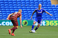 Lex Immers of Cardiff city ® in action. EFL Skybet championship match, Cardiff city v Queens Park Rangers at the Cardiff city stadium in Cardiff, South Wales on Sunday 14th August 2016.<br /> pic by Andrew Orchard, Andrew Orchard sports photography.