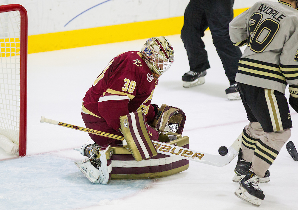 Boston College Goaltender Thatcher Demko (30) makes a save during the first period of a NCAA hockey game between Army and Boston College at Tate Rink on October 9, 2015 in West Point, New York. (Dustin Satloff)