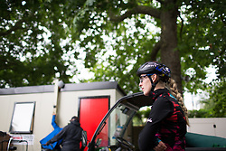 Hannah Barnes (GBR) of CANYON//SRAM Racing waits for the start of the Prudential Ride London Classique - a 66 km road race, starting and finishing in London on July 29, 2017, in London, United Kingdom. (Photo by Balint Hamvas/Velofocus.com)