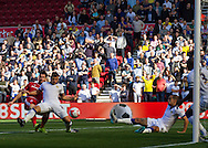 Middlesbrough FC striker David Nugent scoring the first goal during the Sky Bet Championship match between Middlesbrough and Leeds United at the Riverside Stadium, Middlesbrough, England on 27 September 2015. Photo by George Ledger.