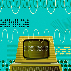 Retro Personal Computer illustration in the style of mid century science books with aged colours and grain